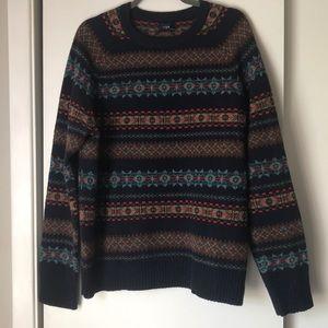 J. Crew fair isle lambswool sweater size L